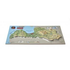 Postcard – 3D Raised Relief Map, Latvia