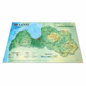 Latvia 3D Map, A4 (297 x 210mm)
