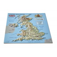 Postcard – 3D Raised Relief Map, United Kingdom