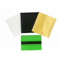 """EASY STICK"" squeegee 4"" (soft green) with double TEFLON, UZLEX FIBER, FELT protectors"