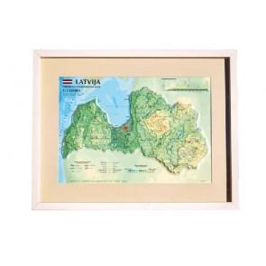 3D карта Латвии, в рамке за стеклом, A3 (520 x 400мм)