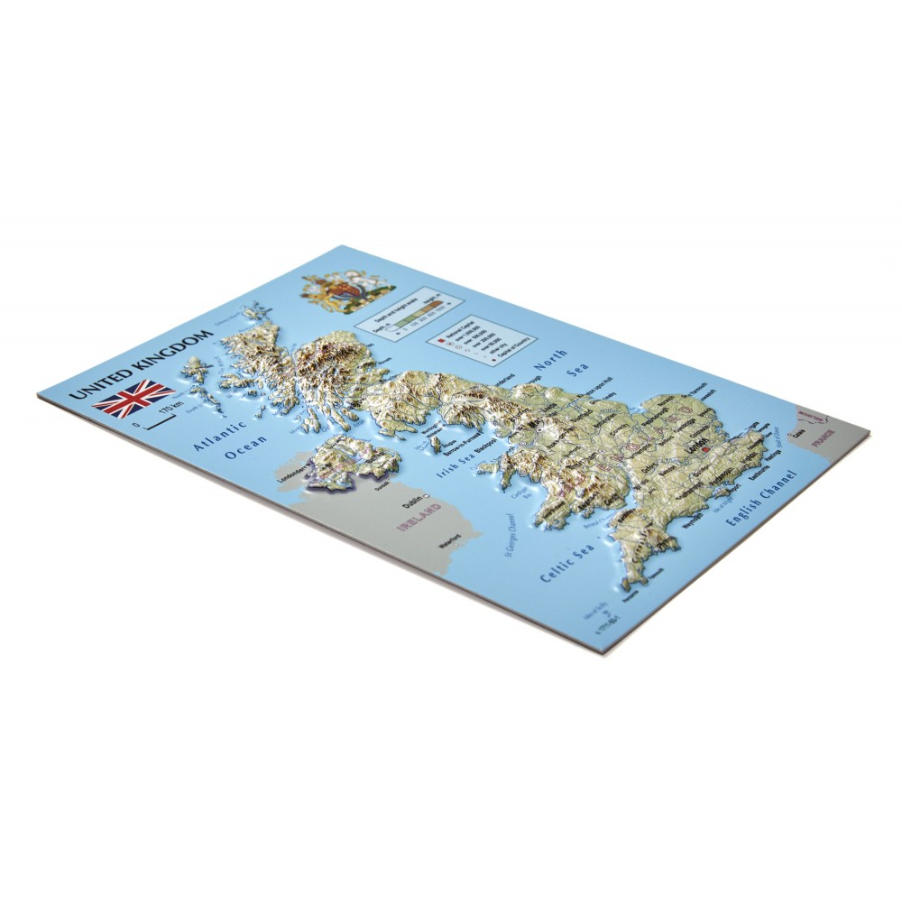 3d Relief Map Of Uk.Postcard 3d Raised Relief Map United Kingdom