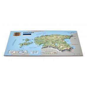Postcard – 3D Raised Relief Map, Estonia