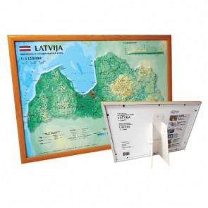 3D Latvia map, A3, framed (420 x 297mm)