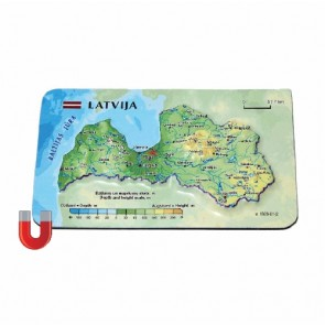 Magnet with 3D Latvia Map, 94 x 62mm