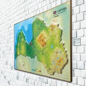 3D map of Latvia, 1200x740mm (framed) : ABCFoil.com