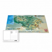 Postcard with 3D map of Lithuania, 170 x 120mm