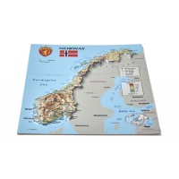 Postcard – 3D Raised Relief Map, Norway