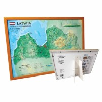 3D Latvia map, A3, framed (420 x 297mm)