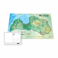 Postcard with 3D Latvia map, 170 x 120mm
